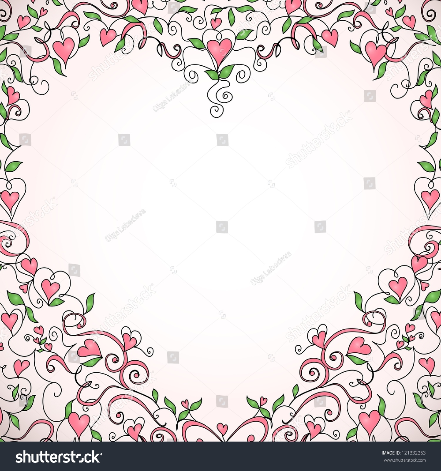 heart shaped frame with space for your text floral ornament with hearts template