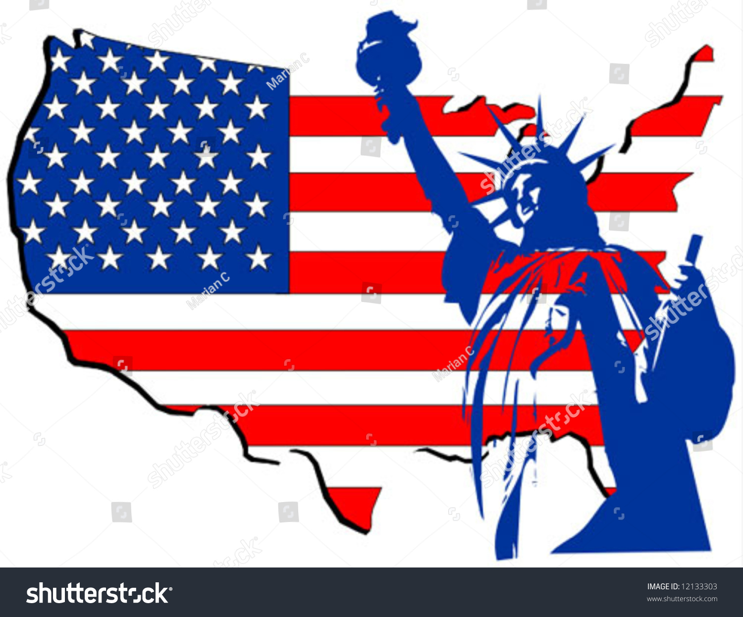 Usa Country Map With The Statue Of Liberty Stock Vector