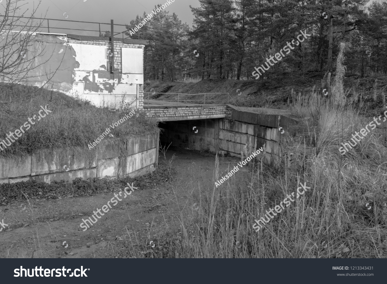 Old vintage black white scary building stock photo edit now 1213343431