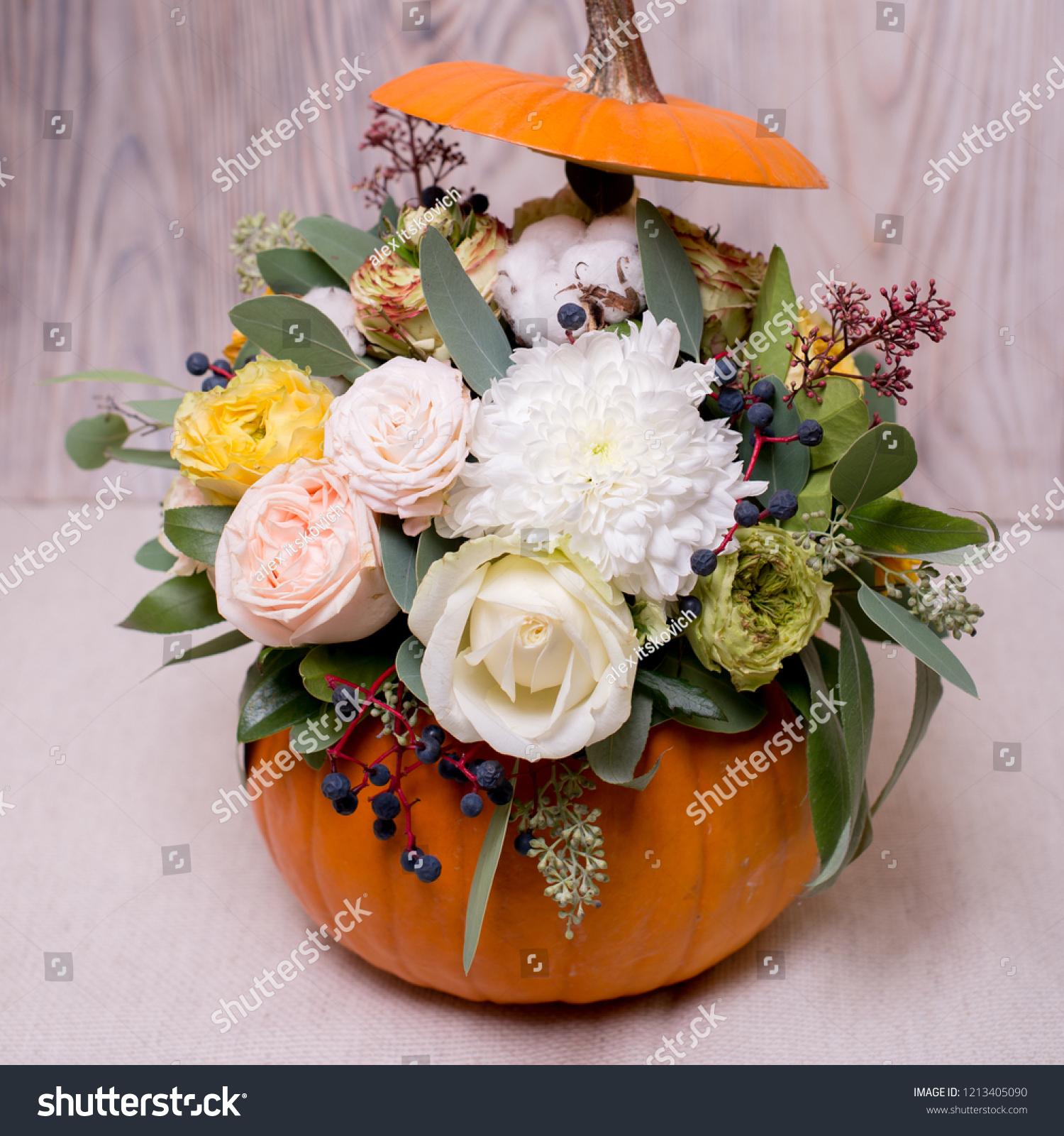 Autumn Floral Bouquet Pumpkin Vase On Stock Photo Edit Now 1213405090