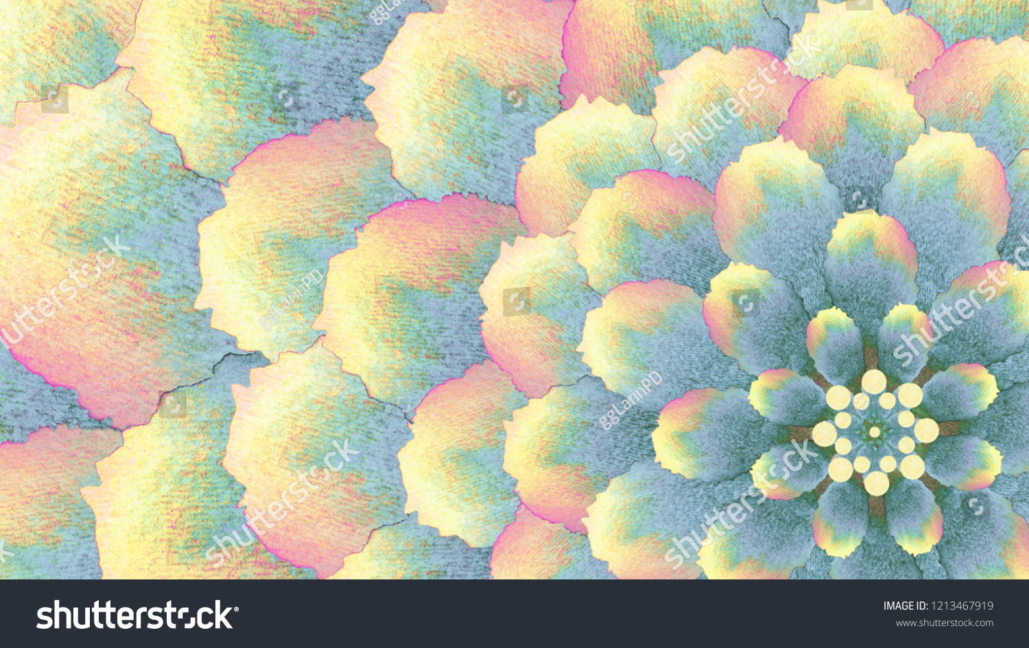 Abstract Watercolor Flower Desktop Wallpaper Screensaver In Shades Of Blue Yellow Pink