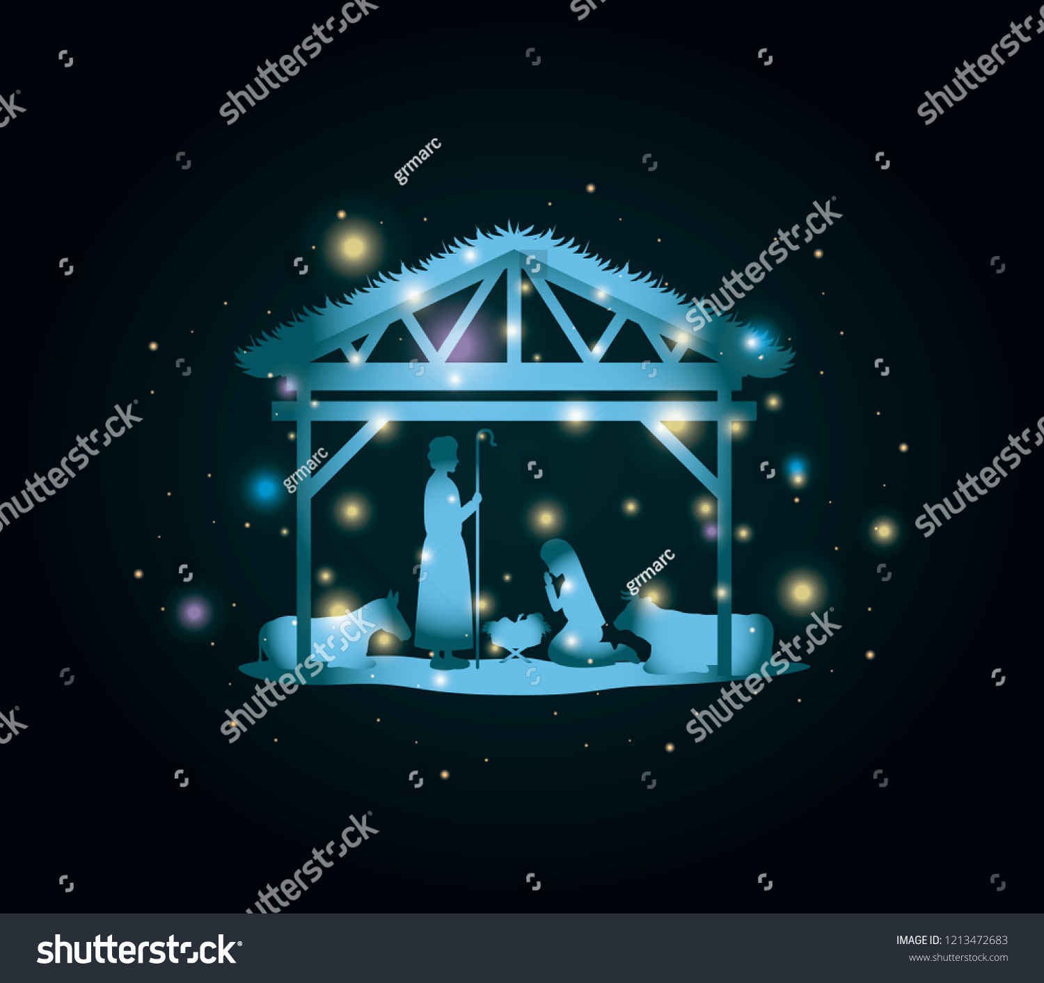 Christmas Card Holy Family Animals Stable Stock Vector Royalty Free 1213472683