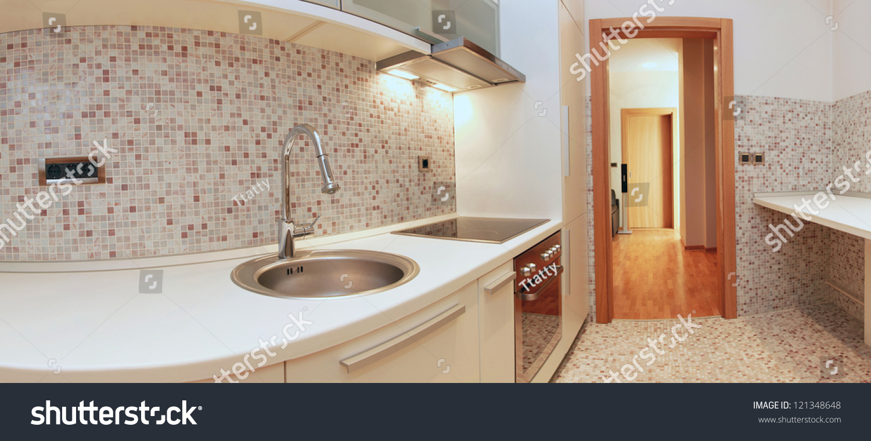 Luxury Contemporary Kitchen Interior Modern Appliances Stock