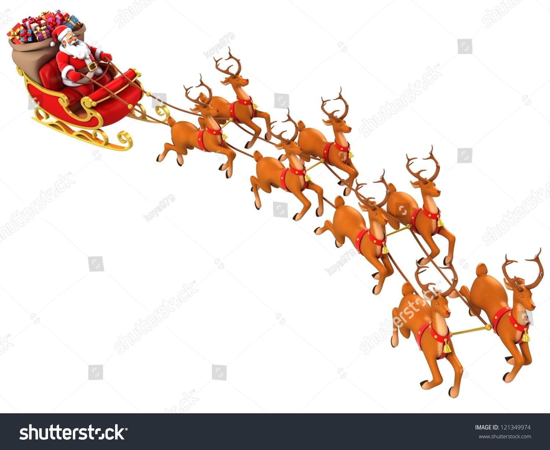 Santa Claus Rides Reindeer Sleigh On Christmas Stock Photo 121349974 ...