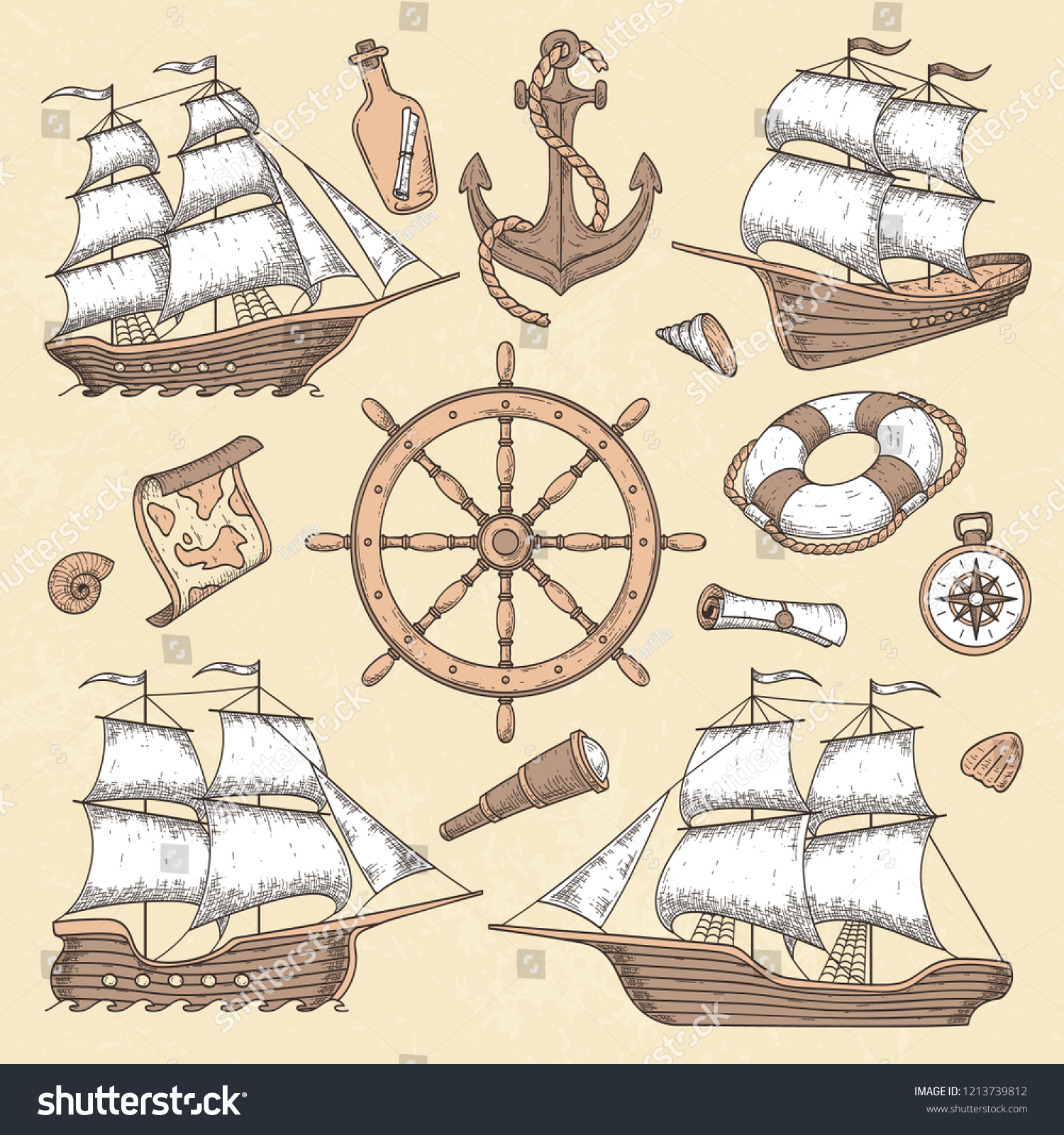 Vintage Marine Ships Old Cartouche Frame Stock Vector Royalty Free