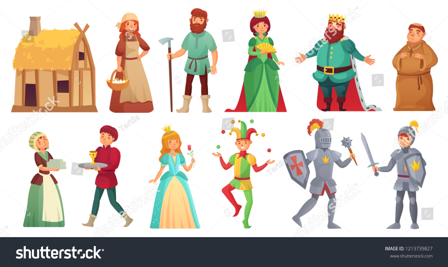 Medieval historical characters. Historic royal court alcazar knights, medieval peasant and king historic costume fairytale ancient aged isolated cartoon vector character icons set