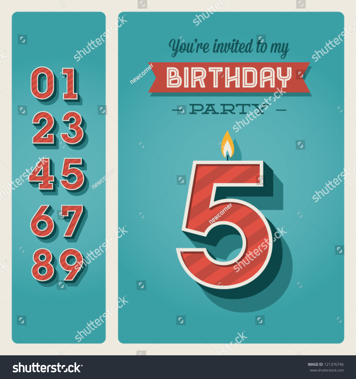 happy birthday card invitation candle number stock vector happy birthday card invitation candle number editable