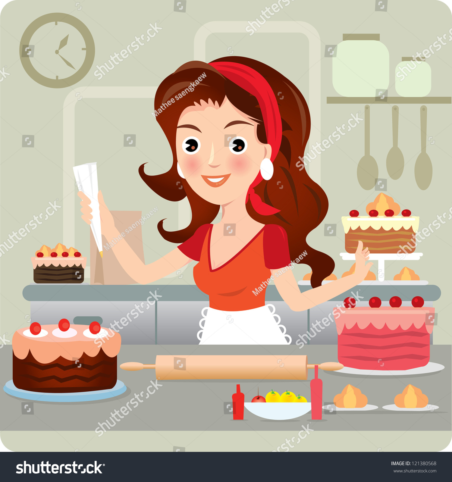 Retro Kitchen Illustration: Woman Baking Cookies In Retro Kitchen. Vector Illustration