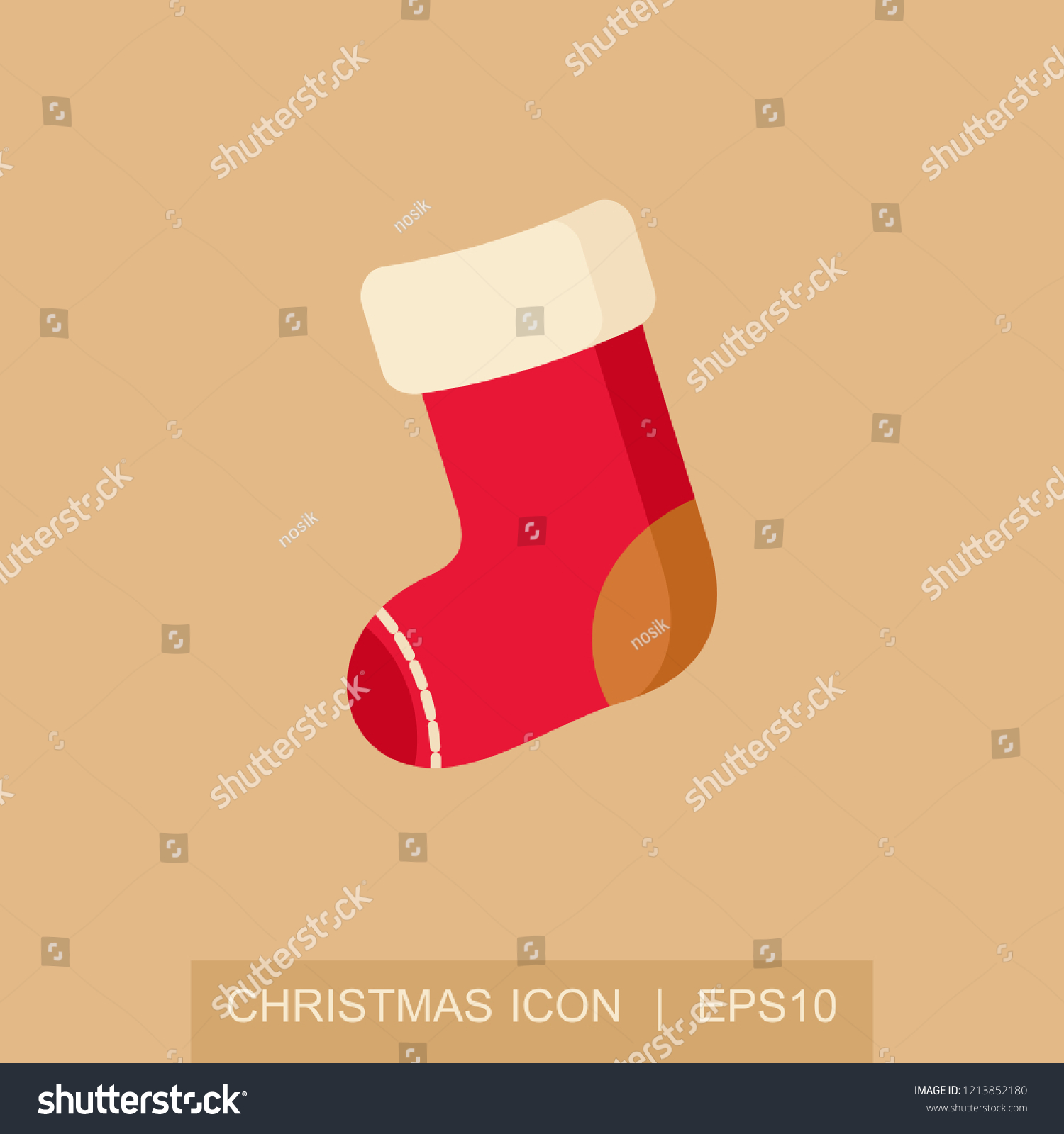 ce7afcccdda4 Christmas socks icon. Merry Christmas and Happy New Year. Christmas card  template. Isolated
