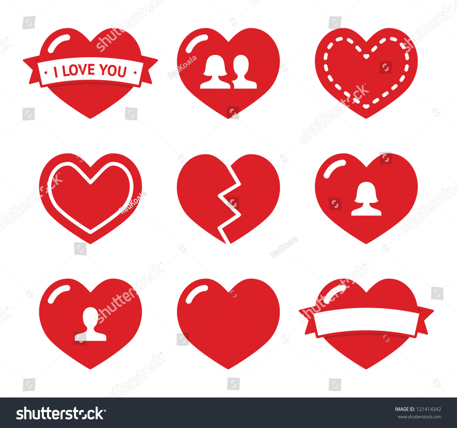 love hearts icons set valentines day stock vector 121414342