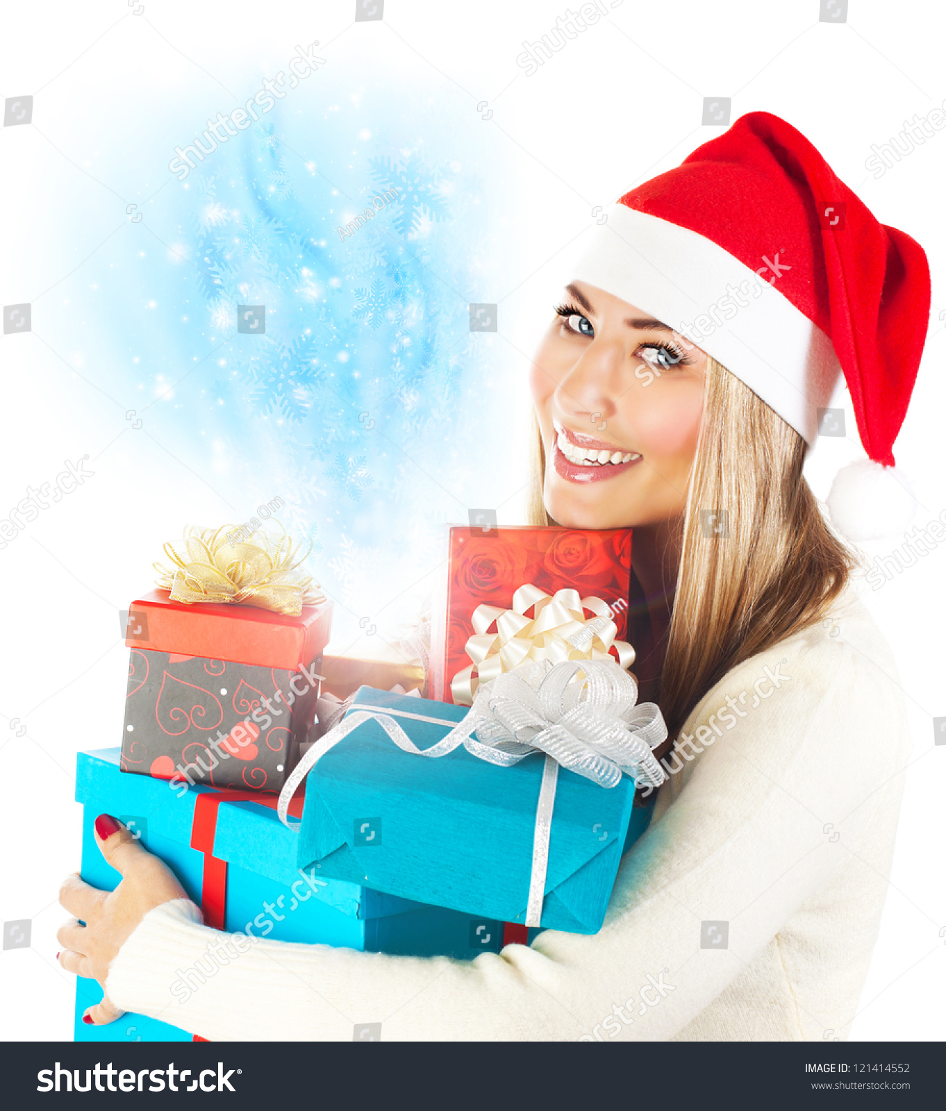 Photo Of Pretty Santa Claus Woman, Wearing Red Hat