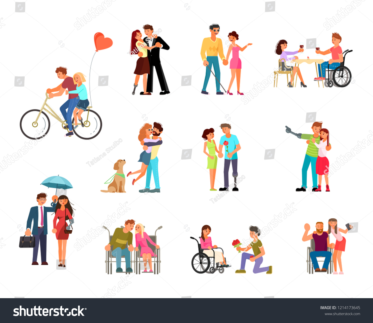 Bundle Different Types Romantic Relationships Marriage Stock Vector Royalty Free 1214173645