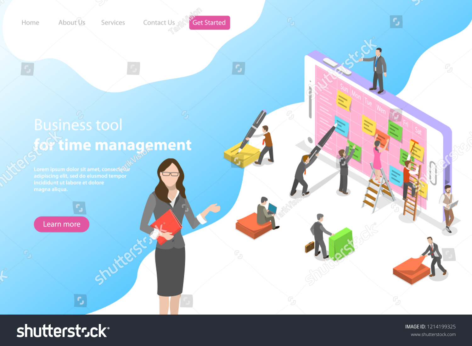 Flat Isometric Vector Landing Page Template Stock Vector Royalty