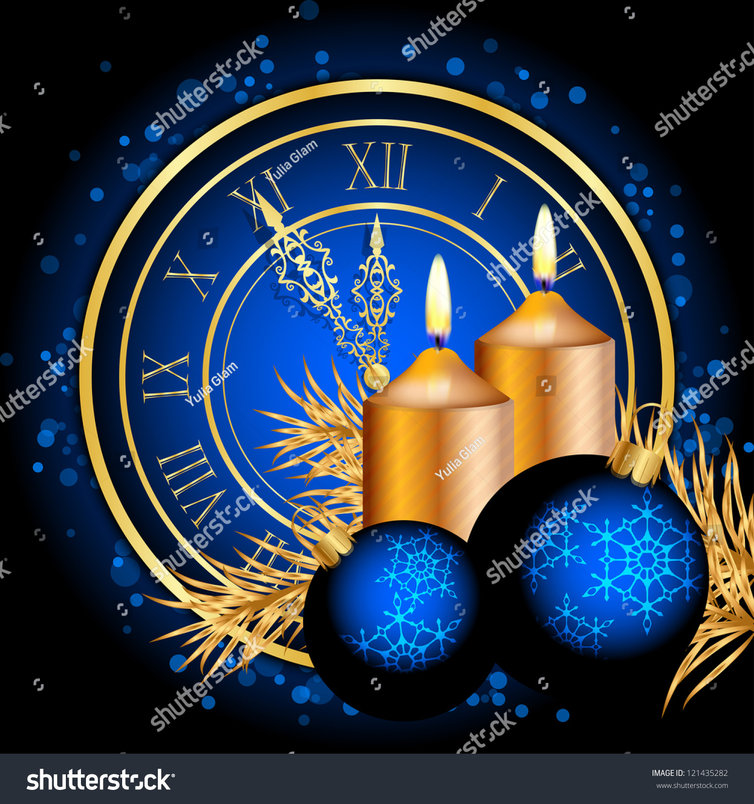 Vector blue gold christmas background stock vector for Blue and gold christmas