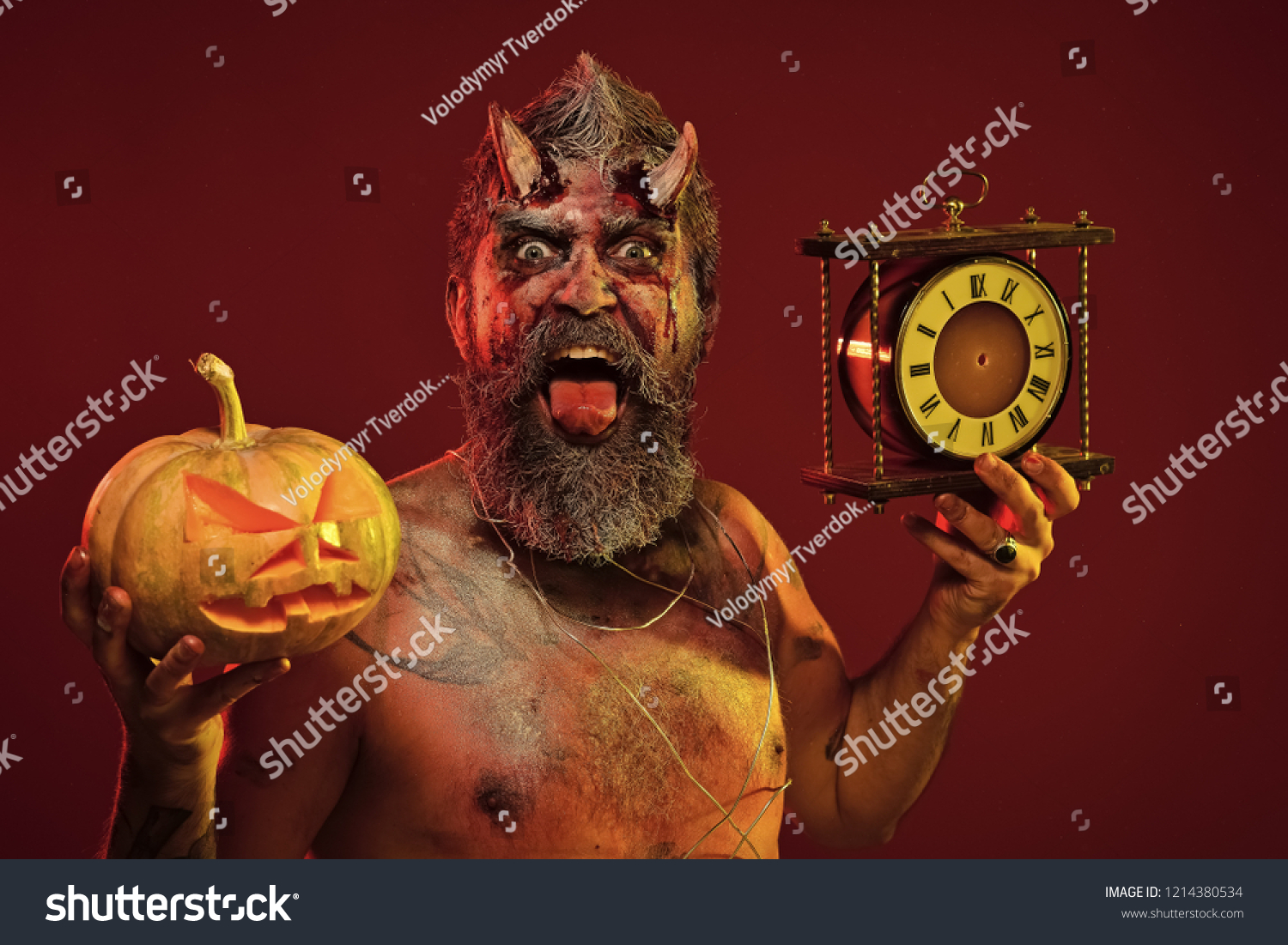 Halloween Maan.Halloween Man Demon Hold Pumpkin Clock Stock Photo Edit Now