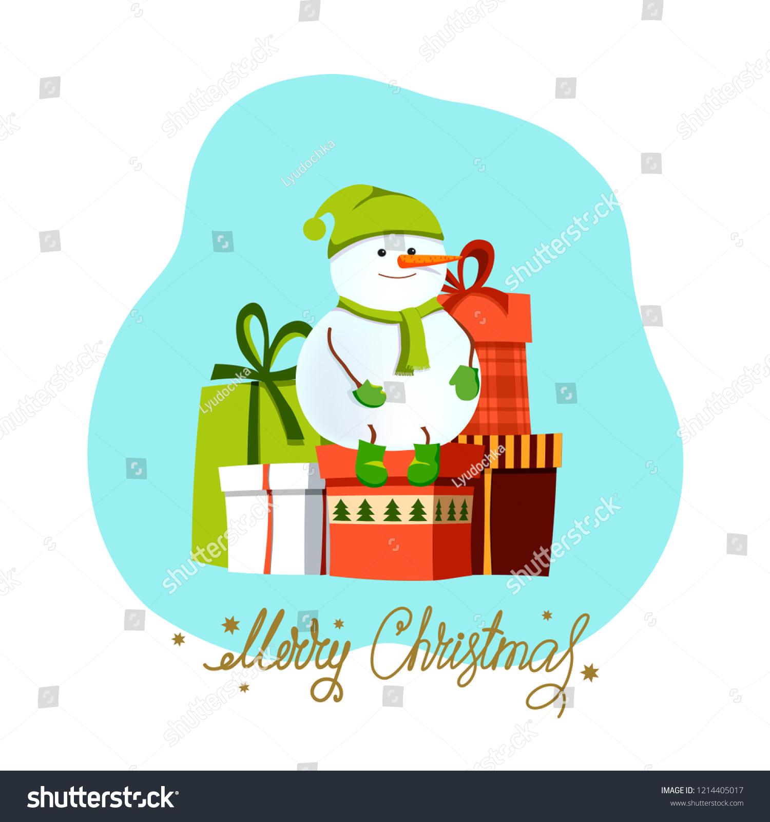 Merry Christmaschristmas Snowman Christmas Presentsvtctor