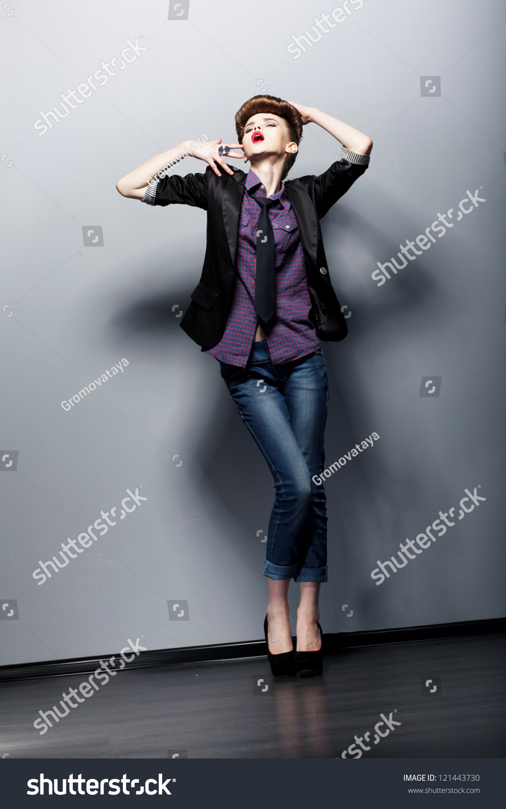 Retro Style Emotions Pin Up Fashion Girl Posing In Studio Glamor Stock Photo 121443730