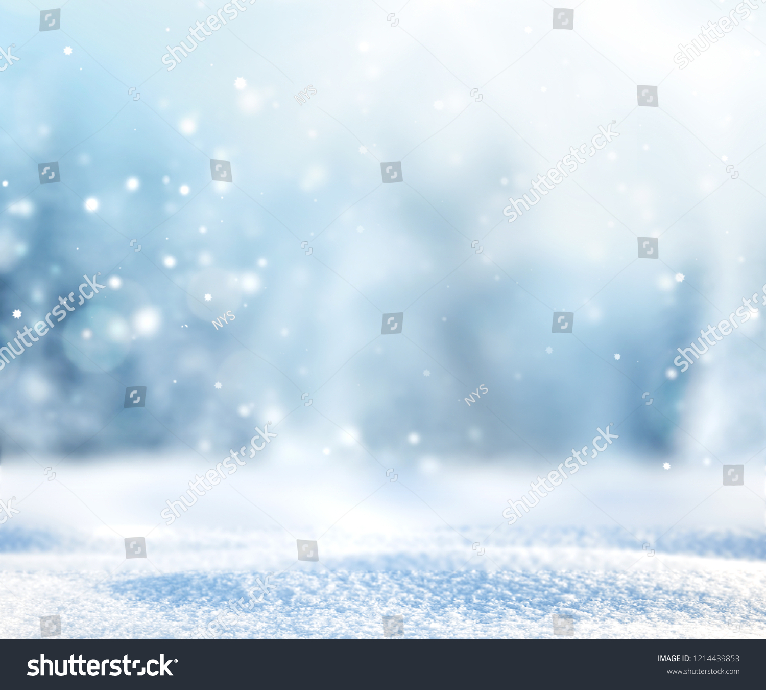 Snowy winter landscape,fir pine forest blurred background.Christmas backdrop. #1214439853