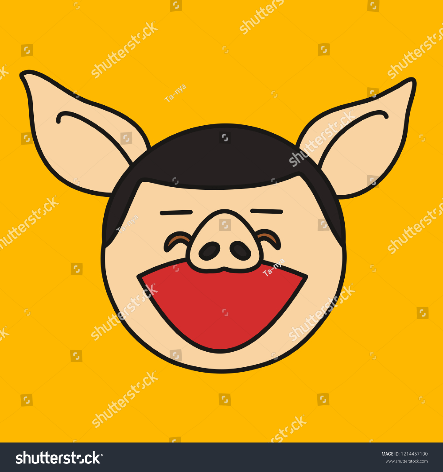Emoji Laughing Out Loud Pig Face Stock Vector (Royalty Free