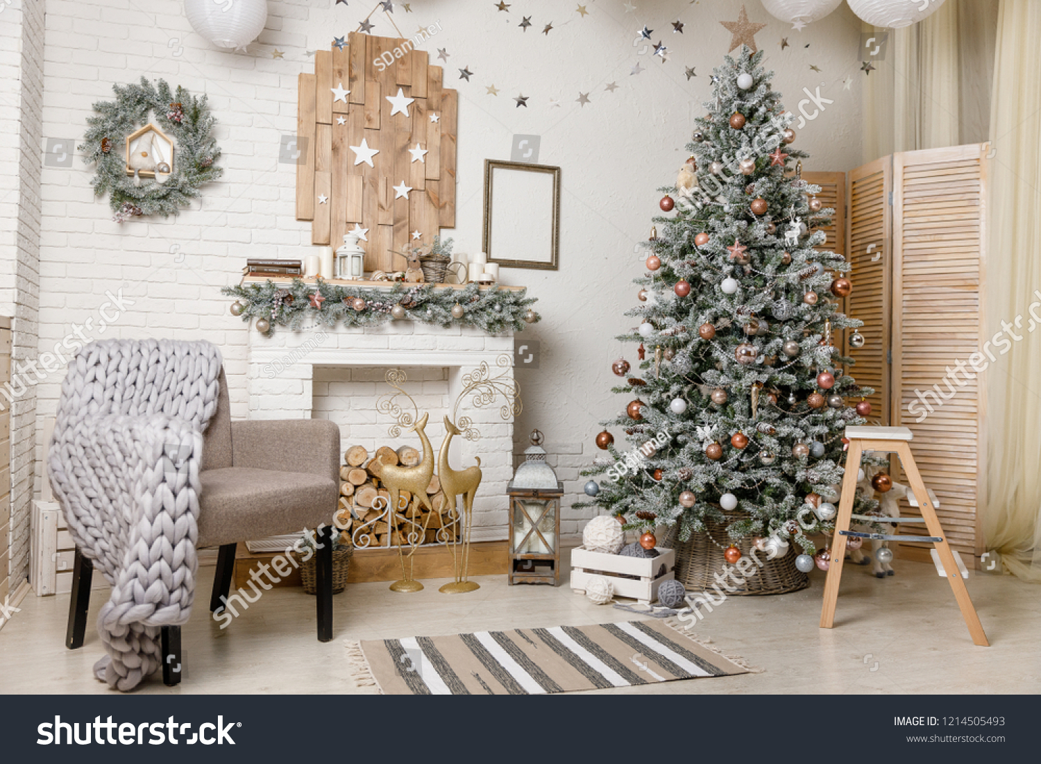 Scandinavian Style Christmas New Year Background Royalty Free