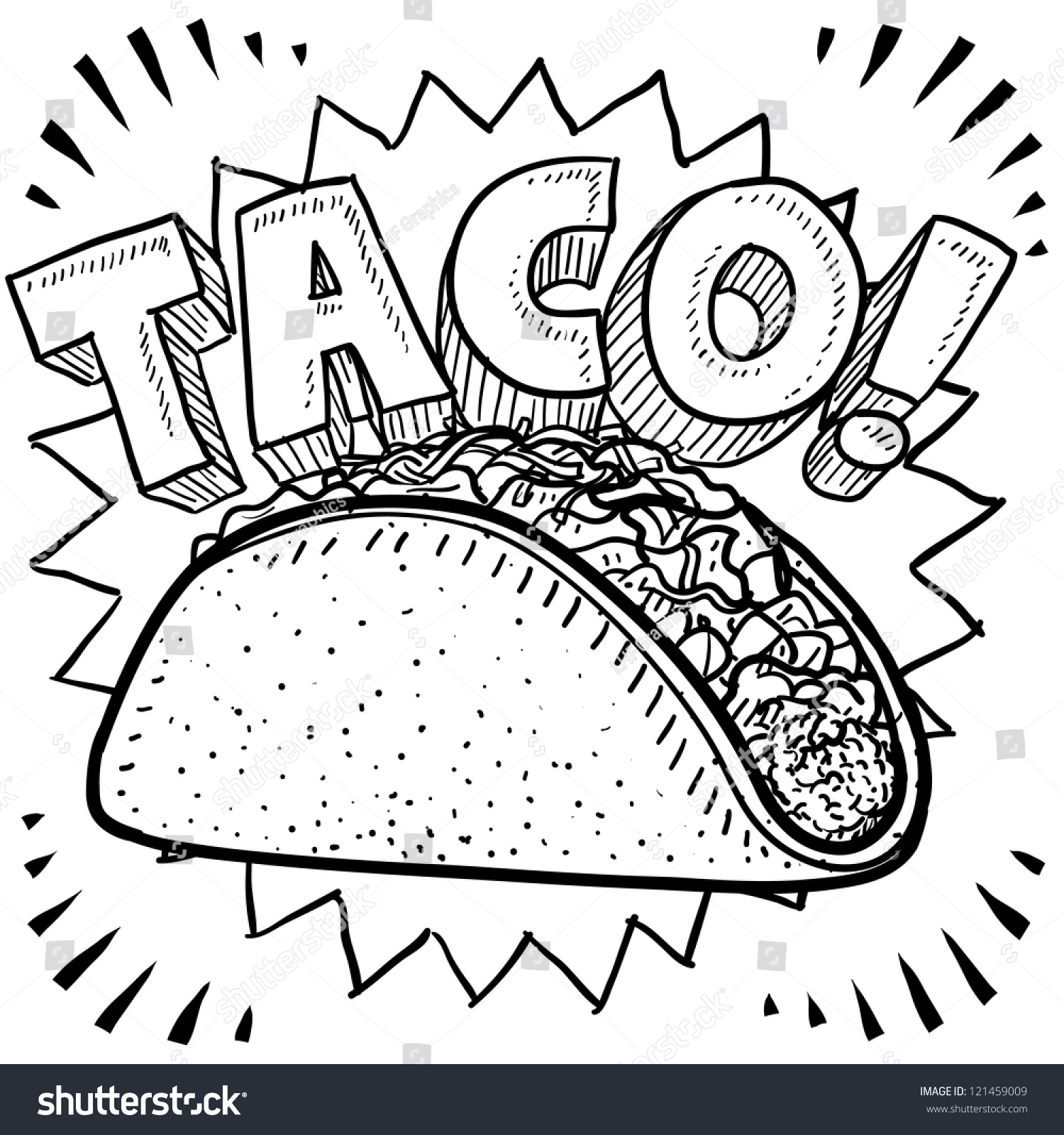 Doodle Style Mexican Food Taco Sketch Stock Vector