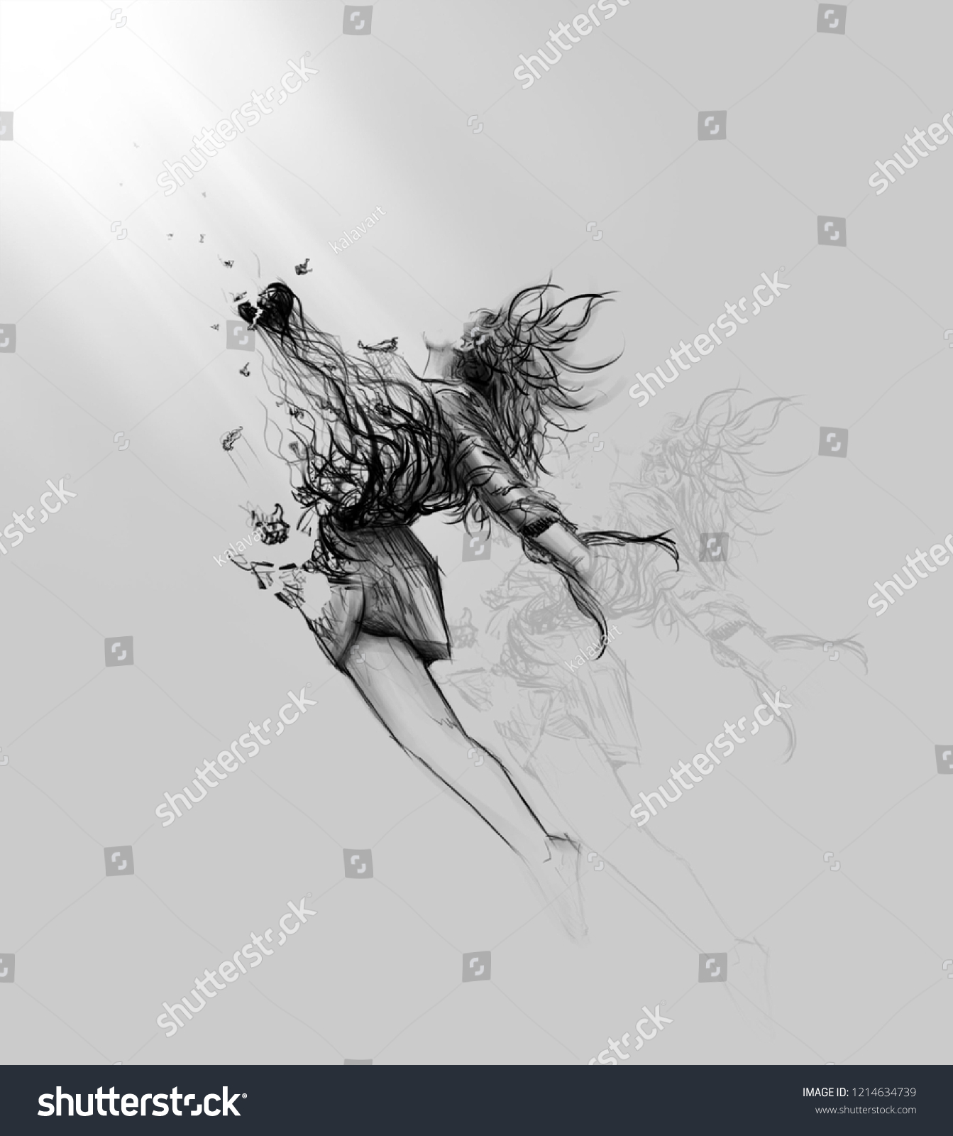 Broken Heart Drawing Woman Illustration On Royalty Free Stock Image