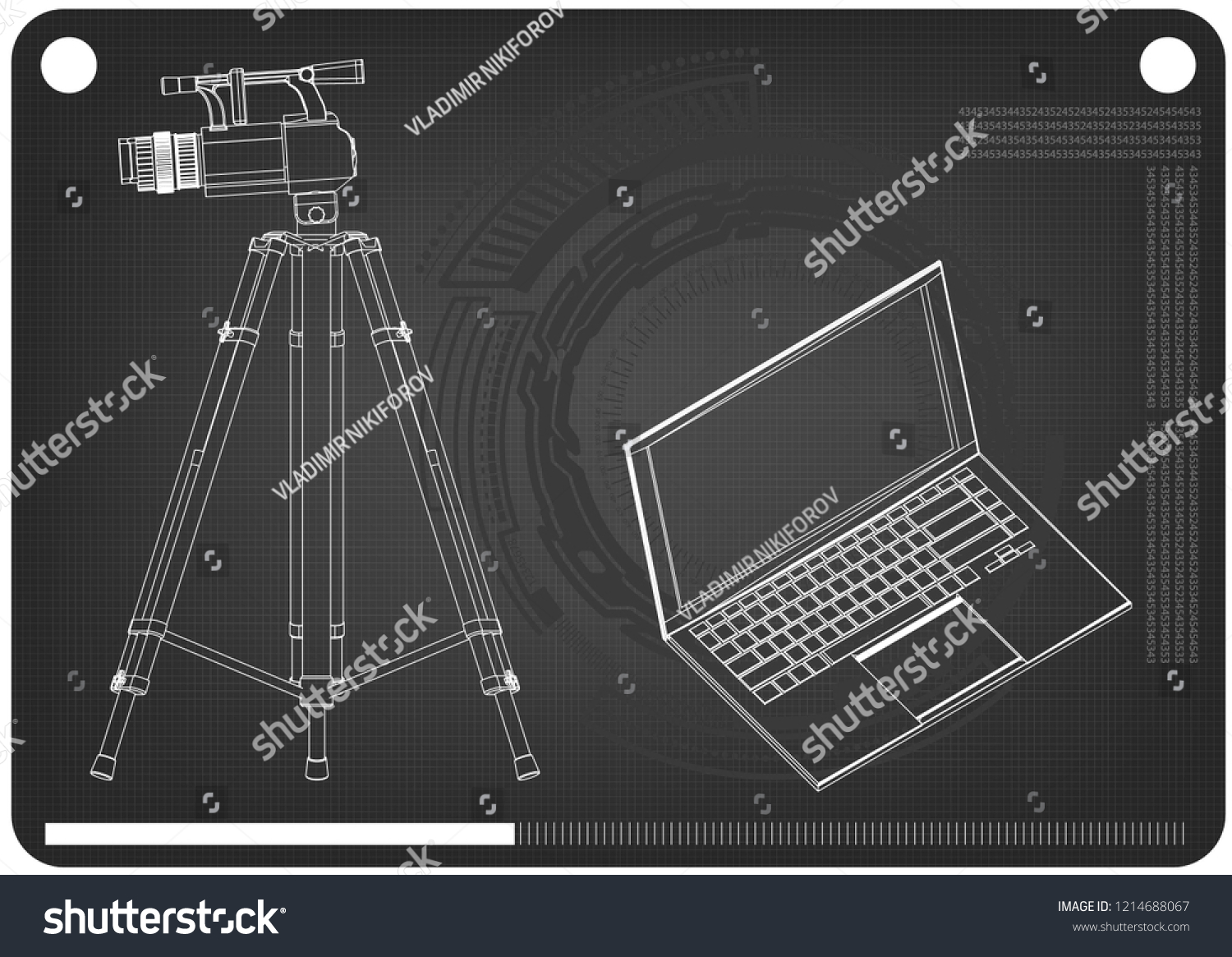 3 d model laptop camcorder tripod on stock vector (royalty free Dell E6410 Laptop Diagram 3d model of laptop and camcorder with a tripod on a black background