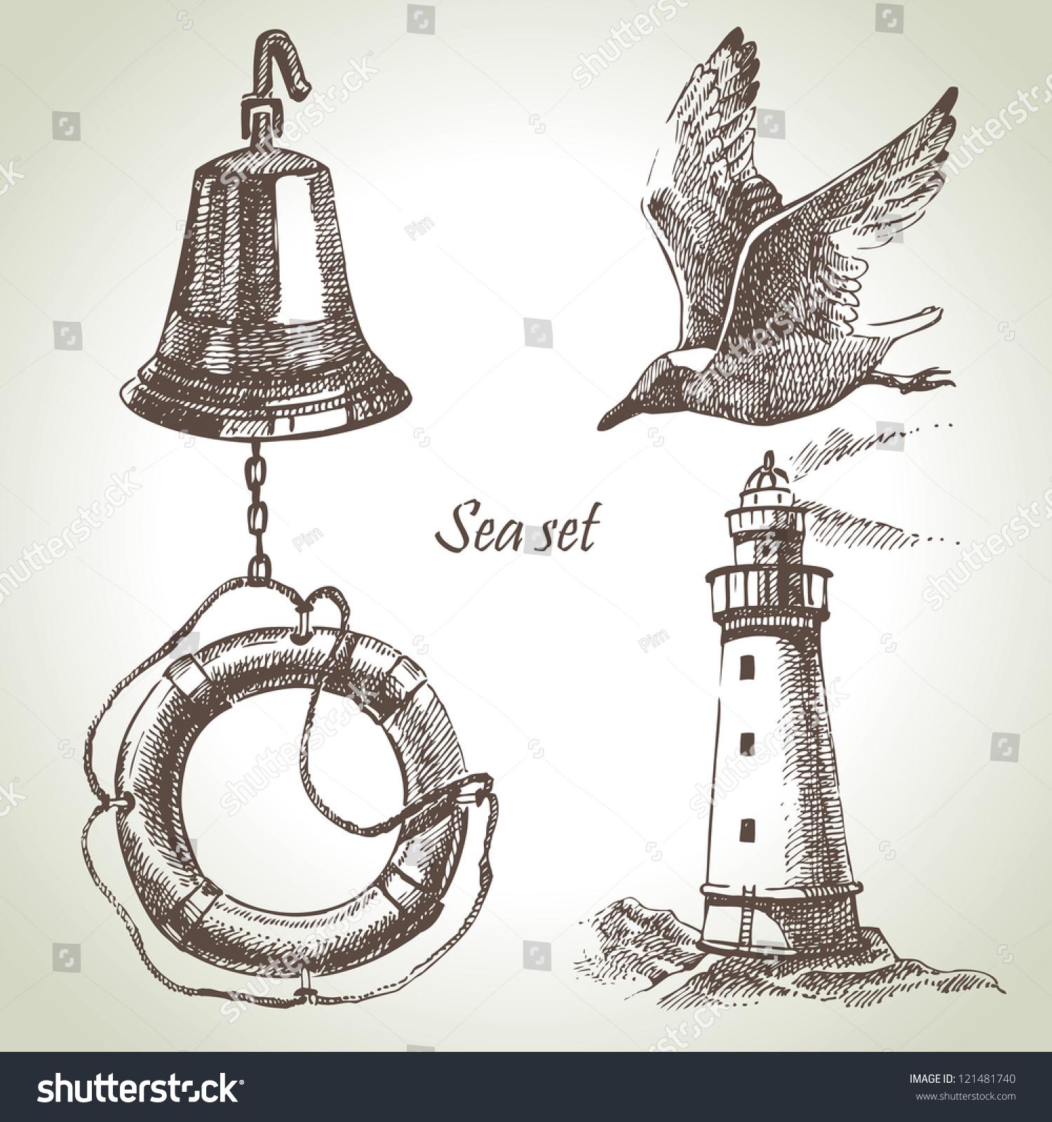 Key Elements Of Nautical Style: Sea Set Of Nautical Design Elements. Hand Drawn