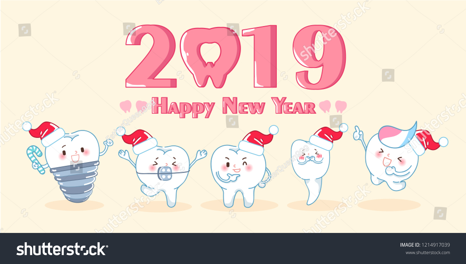 cute cartoon teeth celebrate christmas and 2019 new year