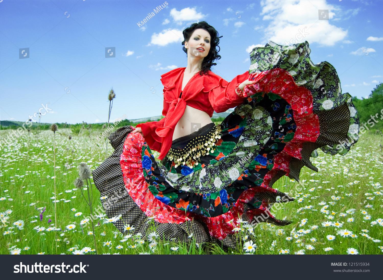 Beautiful Gypsy Woman Dancing Green Field Stock Photo ...