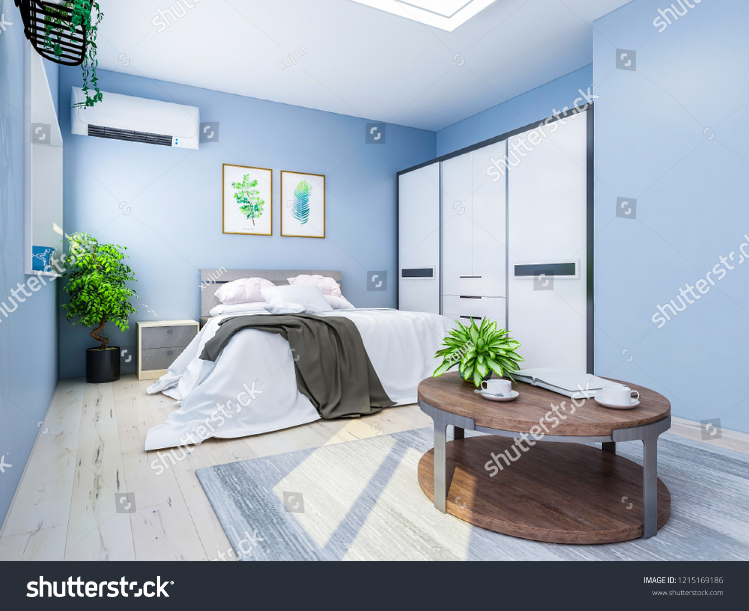 3d rendering light blue bedroom with green plants tv coffee table etc