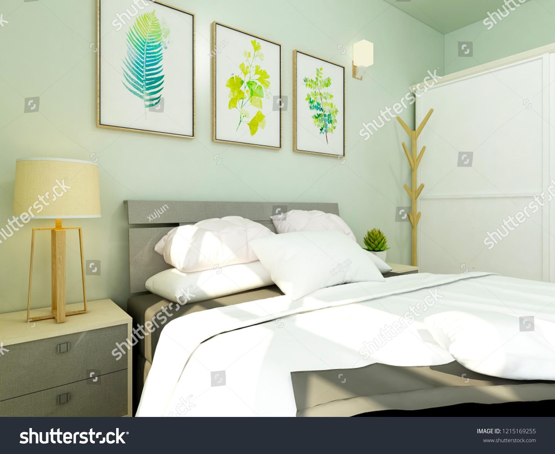 Ilustracoes Stock Imagens E Vetores De Vibrant Bedroom Light Green Wall Paint 1215169255