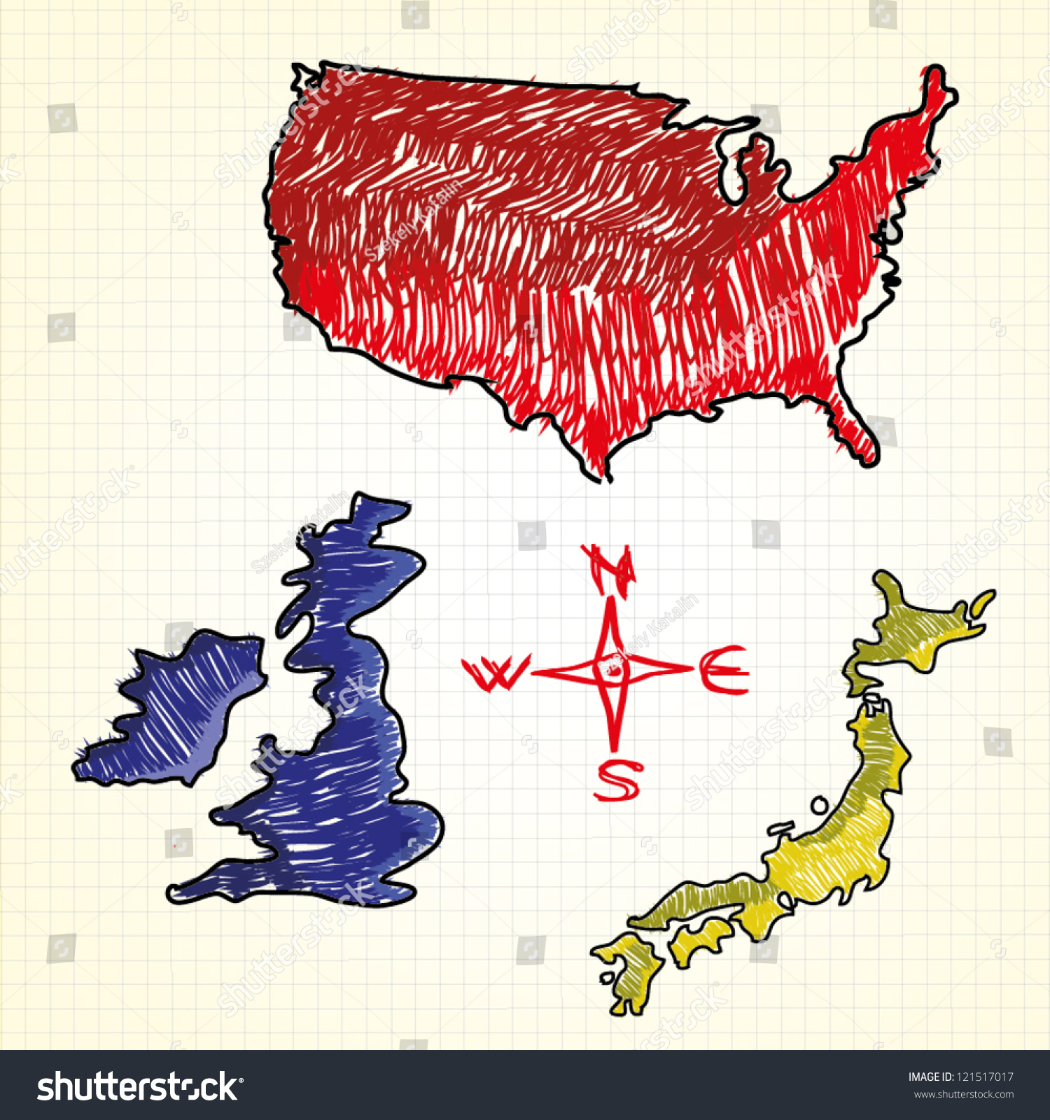 Hand Drawn Map Usa United Kingdom Stock Vector - Hand drawn us map vector