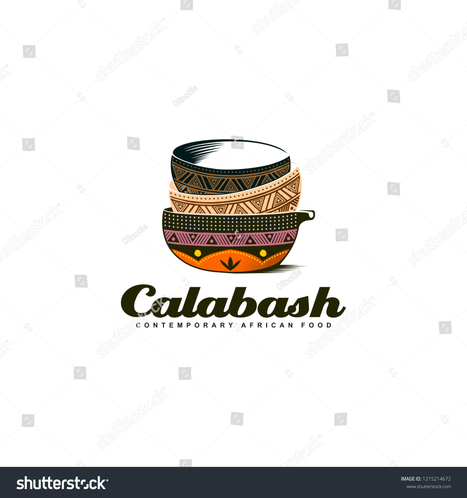Traditional African Calabash Bowl Colorful Logo Stock Vector Royalty Free 1215214672