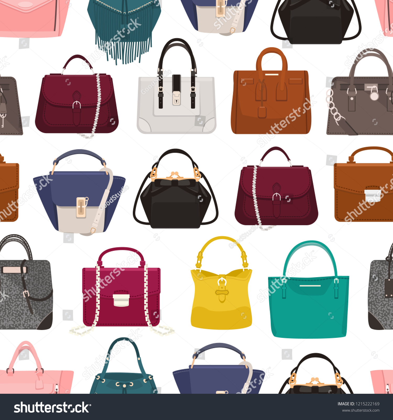 978cdd5a67 ... stock vector images ID  1215222169. Colorful seamless pattern with  elegant women s bags or handbags of various types on white background.