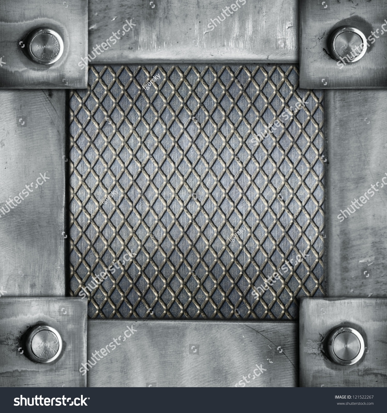 grunge metal frame with rivets abstract industrial background