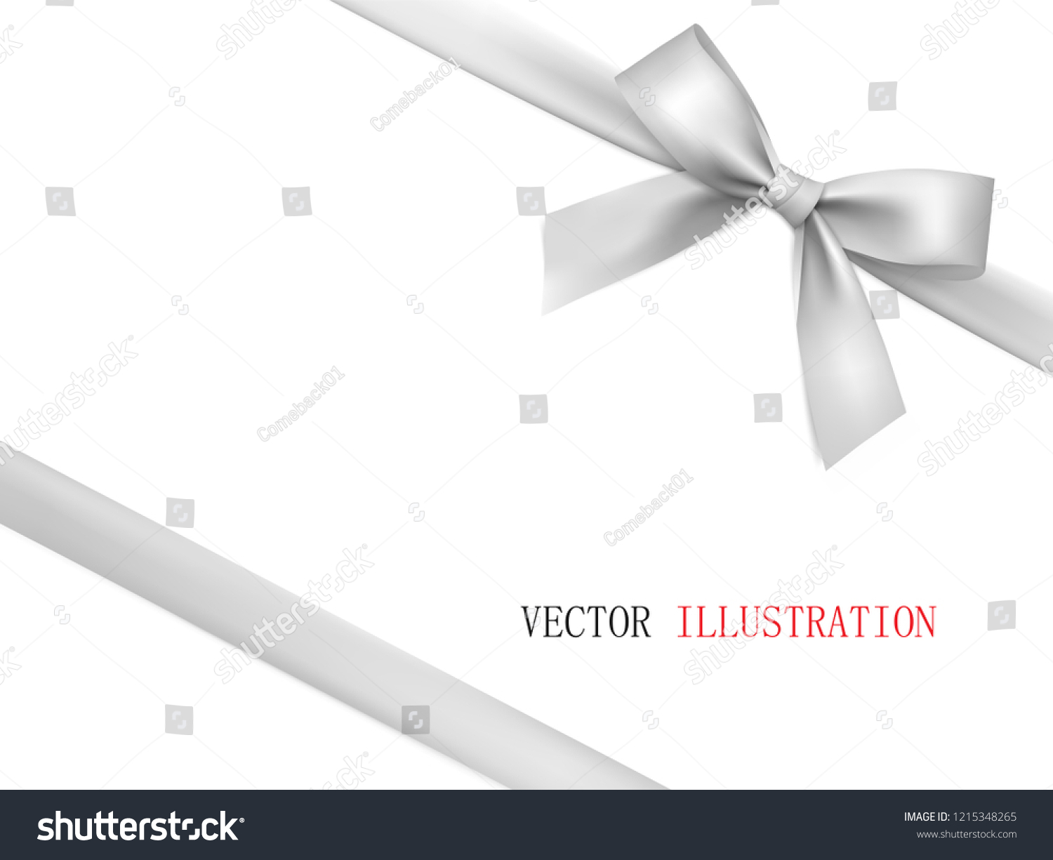 Vector Gift Bow Diagonally White Ribbon Stock Vector