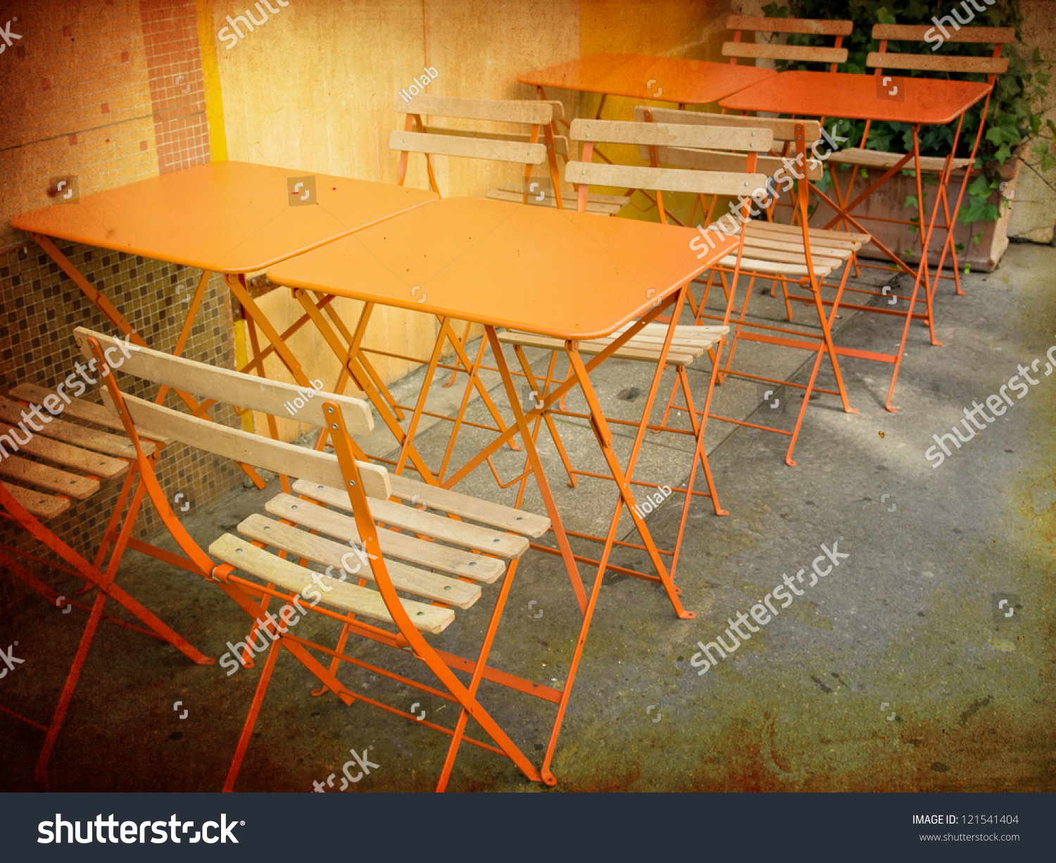 Old Fashioned Coffee Terrace With Tables And Chairs Paris France Stock Photo 121541404