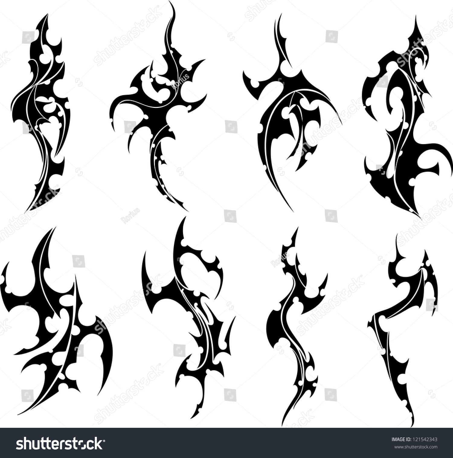 Tribal-Tattoos stock-vector-set-of-tribal-tattoos-black-and-white-vector-illustrations-121542343