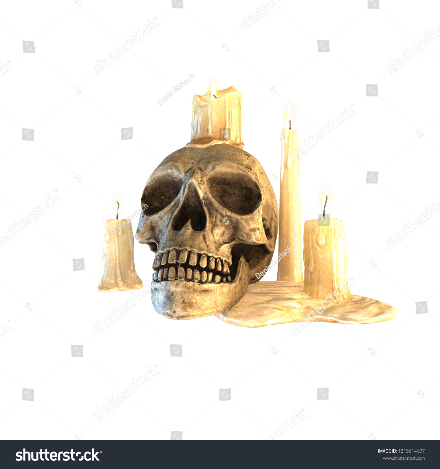 Cute Skull Candle Holder Isolated On Stock Illustration 1215614677