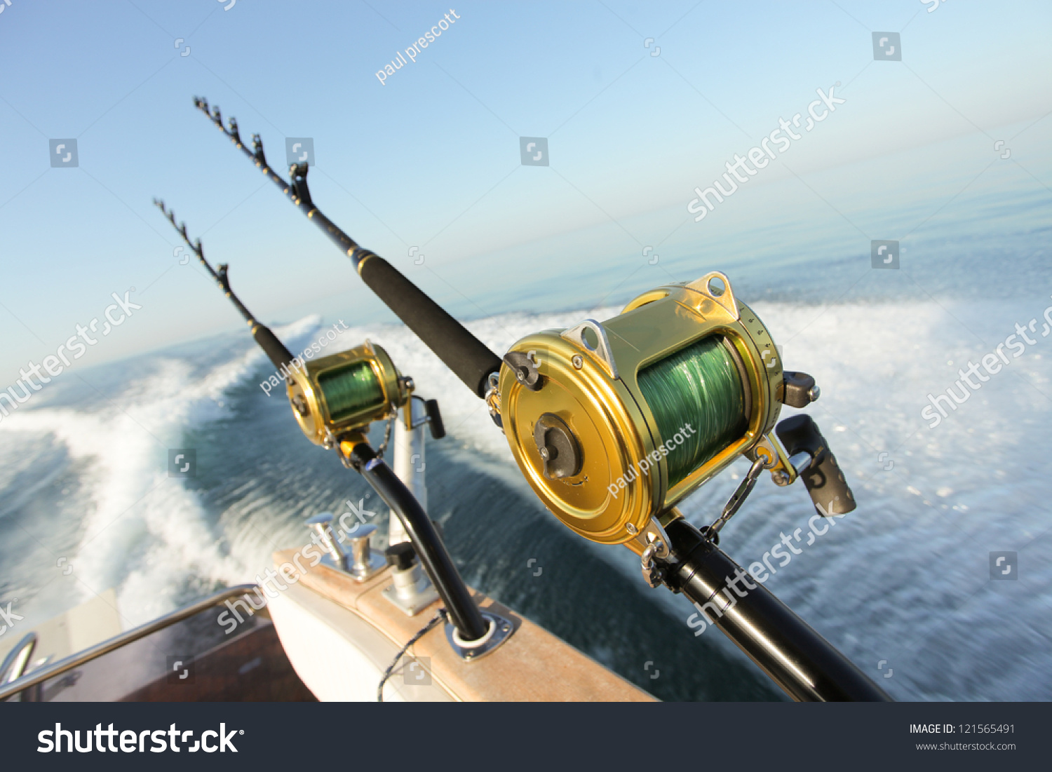 Big game fishing reels rods reels stock photo 121565491 for Big game fishing rods