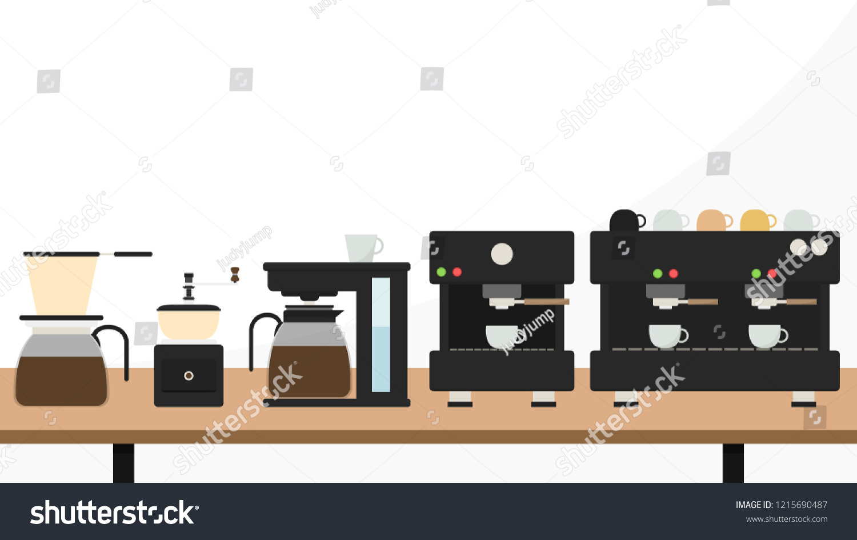 Coffee Maker Cartoon Vector Free Space Stock Vector (Royalty Free