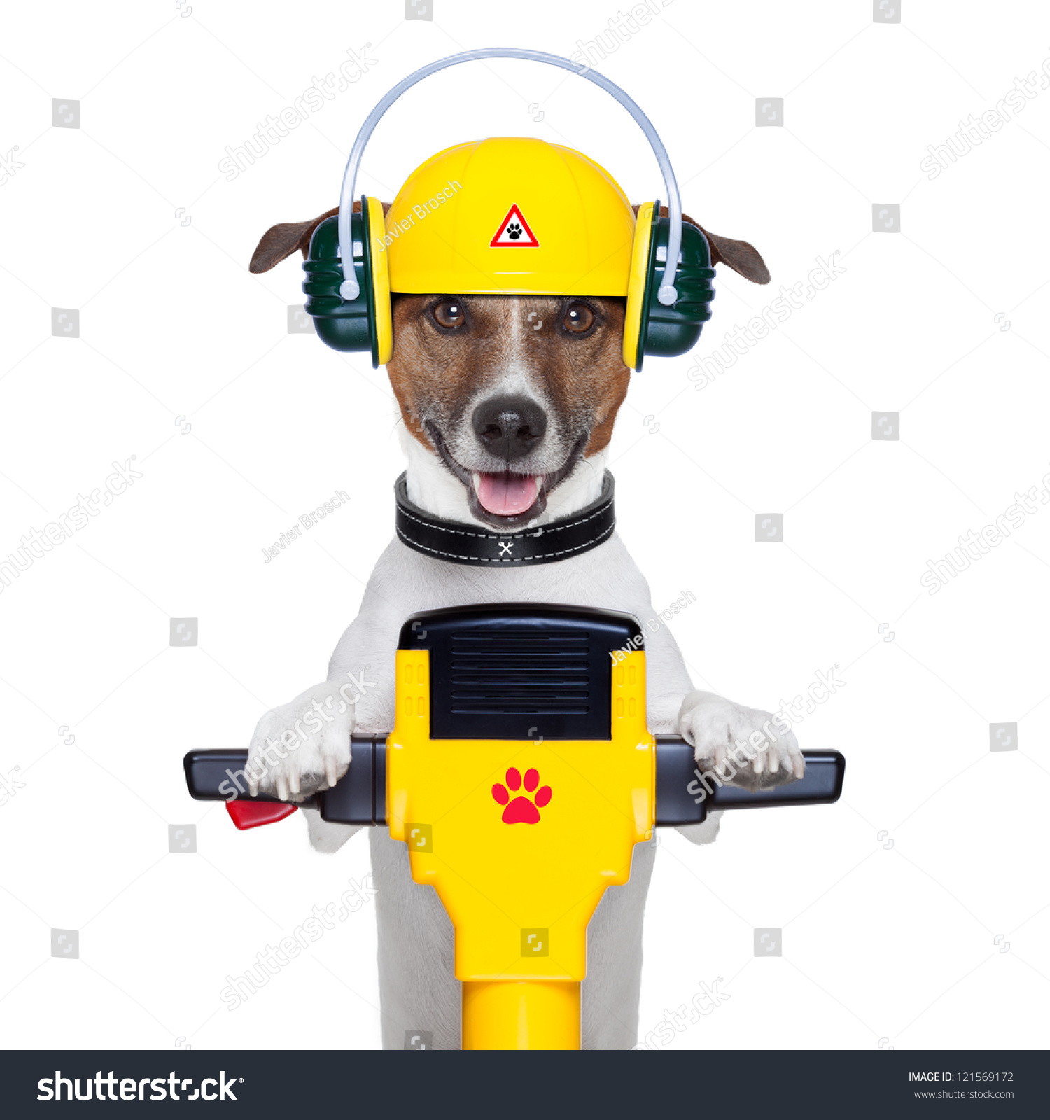 Handyman Dog Work Progress Jackhammer Stock Photo