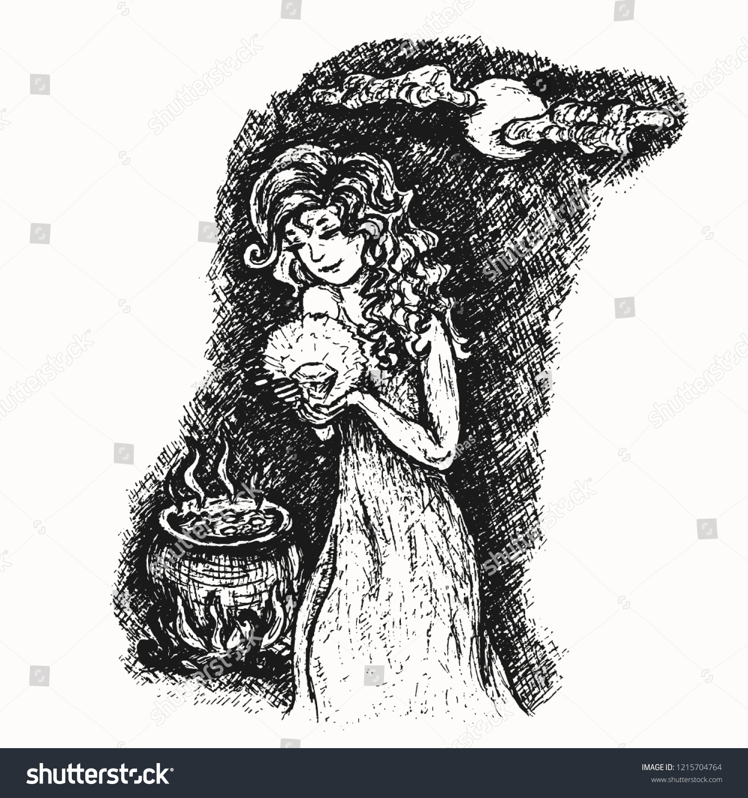 Young Witch Full Moon Magic Cauldron Stock Vector (Royalty Free