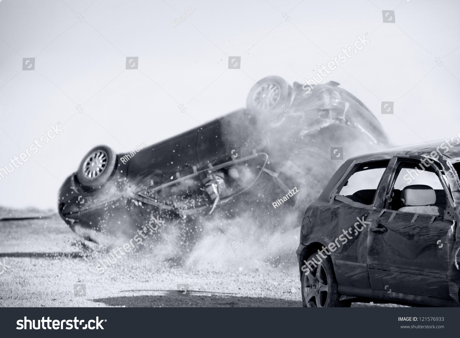 two cars turned upside down after road collision monohromatic stock photo 121576933 shutterstock. Black Bedroom Furniture Sets. Home Design Ideas
