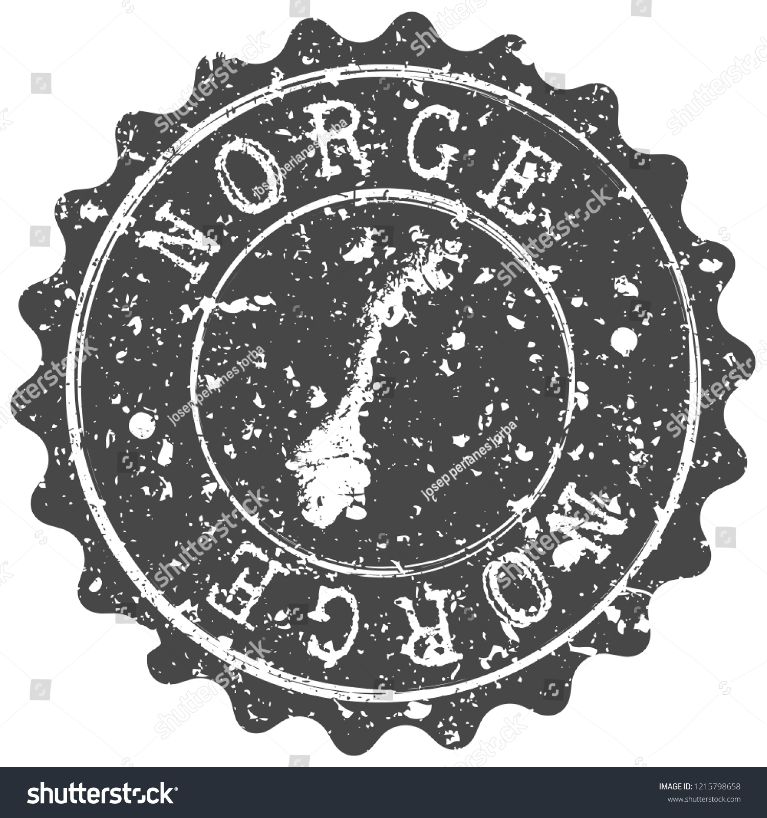 Norway Silhouette Map Postal Passport Stamp Round Vector Icon