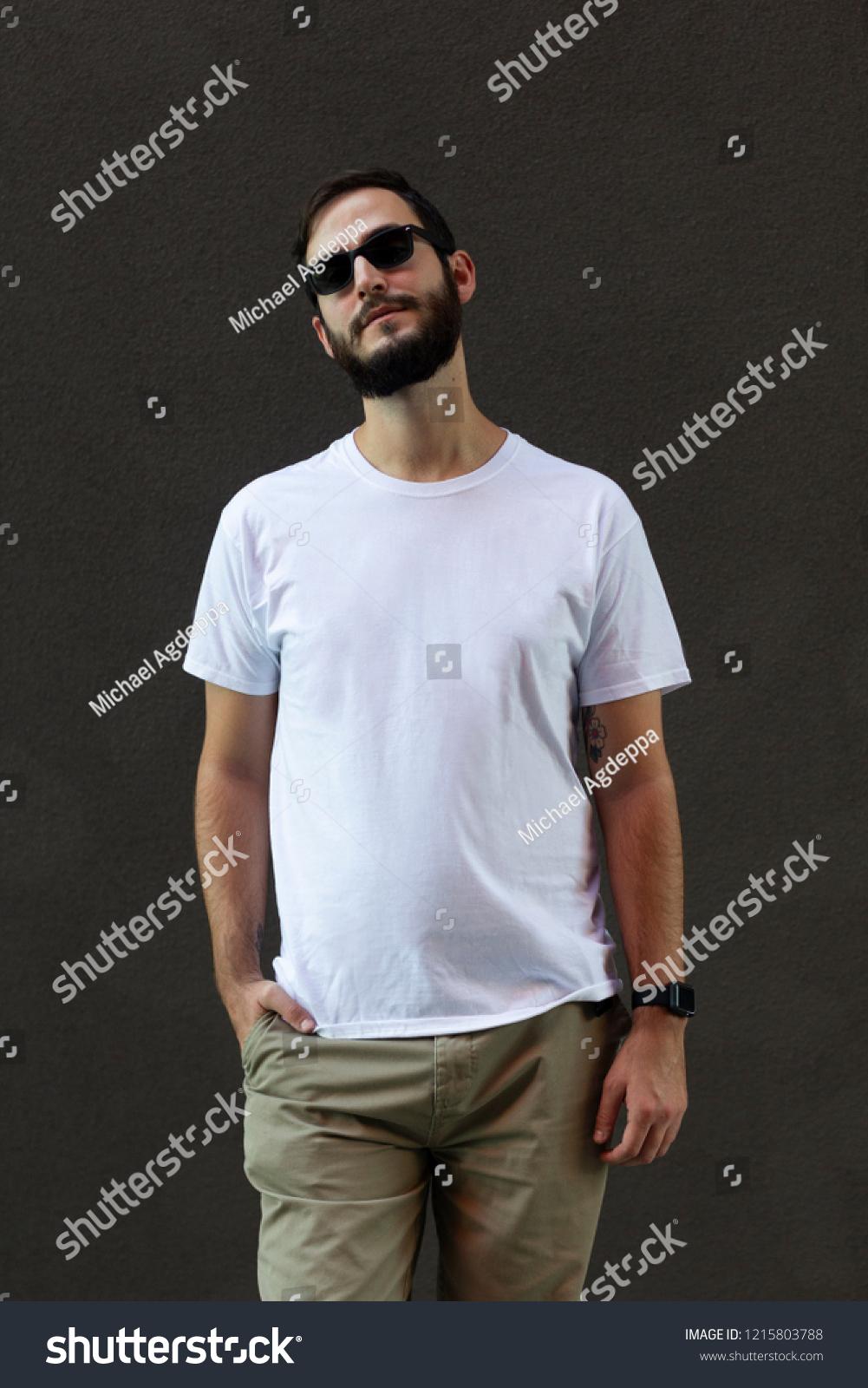 Male Model Wearing White Tshirt Mockup Stock Photo Edit Now