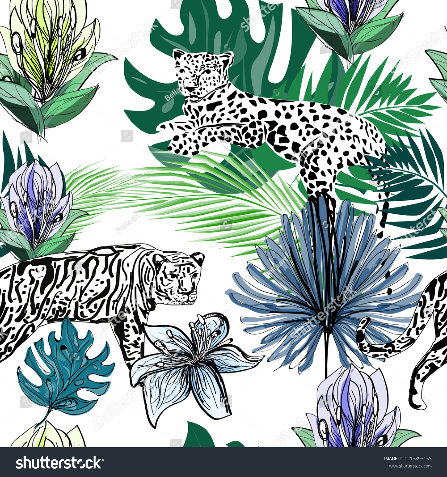 Lily Flowers Palm Leaves Exotic Animals Stock Illustration Royalty