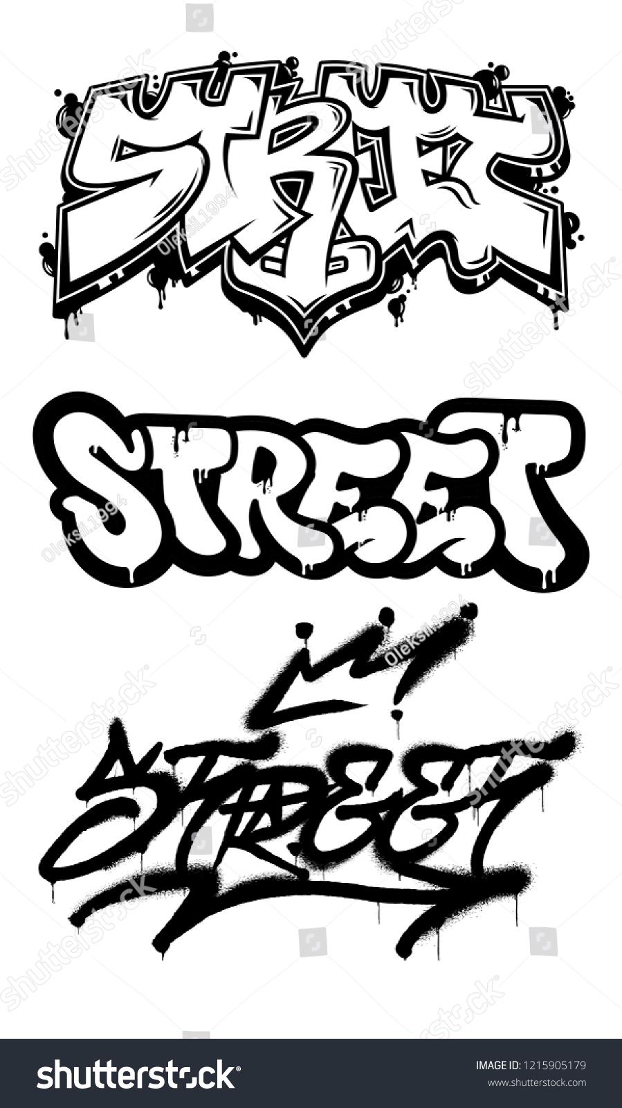 Decorative set with inscriptions street in graffiti styles on wall by using aerosol spray