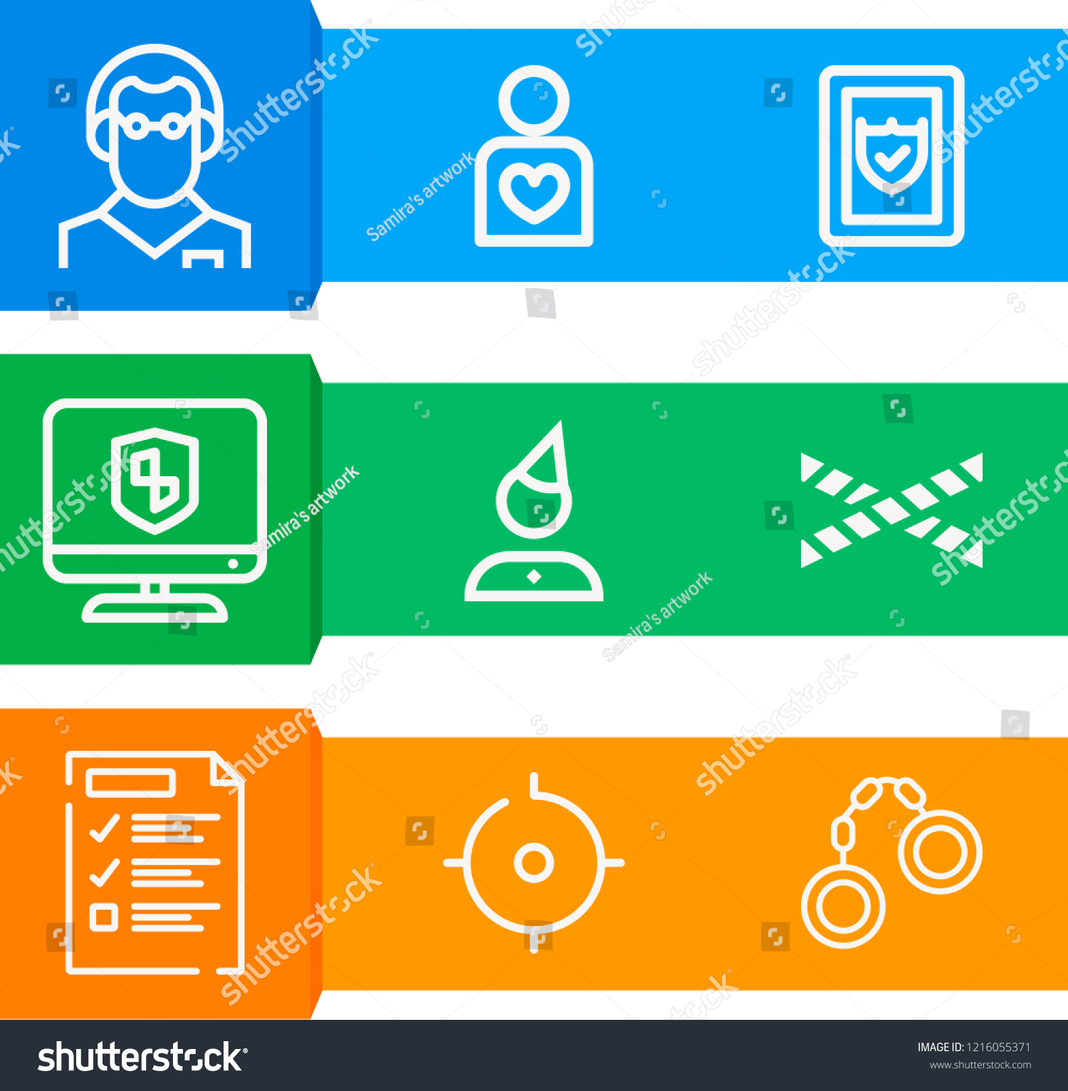 simple set 9 outline icons on stock vector royalty free 1216055371